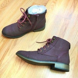 Express Deep Burgundy Lace-Up Combat Boots Size 7